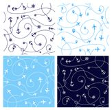 Set of travel concept seamless patterns. Abstract airplane with. Geomethics, anchor and steering wheel. Travel and tourism seamless background on white stock illustration