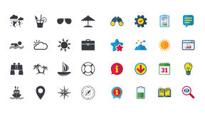 Set of Travel and Cruise icons. Ship, Yacht and Lifebuoy signs. Binoculars, Windrose and Storm symbols. Sun, Swimming and Sunglasses. Calendar, Report and Stock Photo
