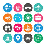 Set of Travel and Cruise icons. Ship, Yacht and Lifebuoy signs. Binoculars, Windrose and Storm symbols. Sun, Swimming and Sunglasses. Colored circle buttons Stock Photos