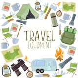 Camping and tourism equipment. Set of travel equipment. Accessories for camping and camps. Colorful cartoon illustration of camping and tourism equipment. Vector