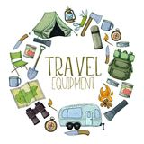 Camping and tourism equipment. Set of travel equipment. Accessories for camping and camps. Colorful sketch cartoon illustration of camping and tourism equipment Stock Photography