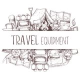 Camping and tourism equipment. Set of travel equipment. Accessories for camping and camps. Sketch illustration of camping and tourism equipment. Vector Stock Photos