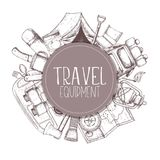 Camping and tourism equipment. Set of travel equipment. Accessories for camping and camps. Sketch illustration of camping and tourism equipment. Vector Stock Photography