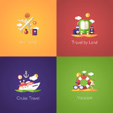 Set of travel flat design compositions Stock Images