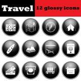 Set of travel glossy icons Stock Photo