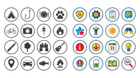 Set of Travel, Hiking and Camping icons. Royalty Free Stock Photos