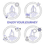Set of travel horizontal banners with sailboat on waves, sea rest accessories in circle. Stock Photo