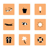 Set of travel icon in black and white illustration Stock Images