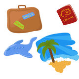 Set of travel icons. Set of cartoon and cute travel icons Royalty Free Stock Photography