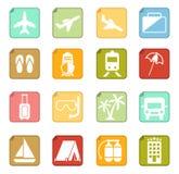 Set of travel icons. Set of 16 travel icons Royalty Free Stock Image