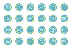 Set of travel icons. Set of blue travel icons. Vector illustration Royalty Free Stock Images