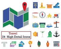 Set of 24 Travel Icons. Flat color design. Vector illustration Stock Images