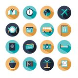 Set of travel icons. Illustrated set of travel and transportation web icons in flat web design style Stock Photography
