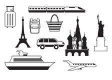 Set of travel icons. Mobile app, printing, web site icon. Simple elements. Monochrome airplane, train, ship, showplace and luggage Stock Photography