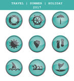 Set of travel icons. Summer vacations. Vector eps 10. Set of travel icons. Summer vacations. Vector concept free Stock Image