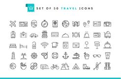 Set of 50 travel icons, thin line style. Vector illustration vector illustration
