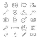 Set of 20 travel icons. On a white background. Vector illustration. Summer outdoor recreation. Camping. Set to survive in the forest Stock Image