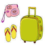 Set of travel illustrations: pink small camera Royalty Free Stock Image