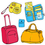 Set of travel illustrations: pink trolley bag Stock Photos