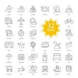 Set of Travel Items Icons Stock Photo