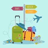Set of travel items and signpost. Suitcase, tickets, etc vector illustration