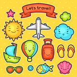 Set of travel kawaii doodles with different facial expressions. Summer collection cheerful cartoon characters sun Stock Photo