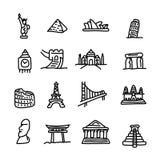 Set of travel landmarks icon set vector illustration sketch hand Stock Photos
