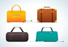 Set travel leather bags, suitcases, on wheels and without them. Stock Image