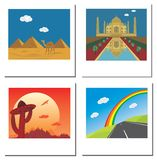Set of travel photos with Taj Mahal,egypt pyramids Stock Photography