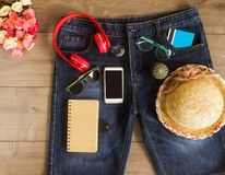 Set travel planning for trip with accessory Stock Image