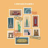 Set of Travel Postage Stamps Royalty Free Stock Photography