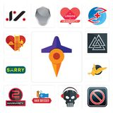 Set of travel, restricted entry, skull with headphone, hair dresser, 2 years warranty, gryphon, sorry, valknut, volunteer fire dep. Set Of 13 simple  icons such Royalty Free Stock Photos