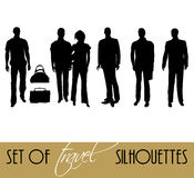 Set of travel silhouettes Royalty Free Stock Image