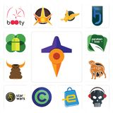Set of travel, skull with headphone, eshop, copyright free, star wars, rottweiler, bullshit, paraben mobile os a icons. Set Of 13 simple  icons such as travel Stock Images