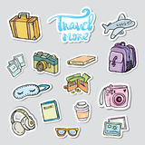 Set travel sticker. Traveling icons. With suitcase bag briefcase and backpack detailed items Royalty Free Stock Images