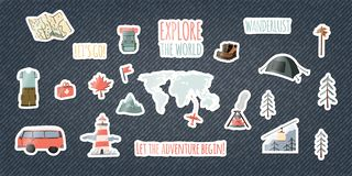 Set of travel stickers. Collection of badges on denim background. Cartoon hand drawn funny patches. Stock vector stock illustration