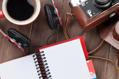 Set of travel stuff. Camera, headphones and coffee cup Stock Images