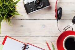 Set of travel stuff. Camera, headphones, notepad Royalty Free Stock Photos