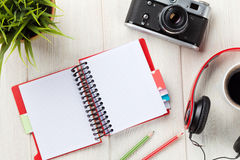 Set of travel stuff. Camera, headphones, notepad Royalty Free Stock Image