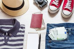 Set of travel stuff royalty free stock photography
