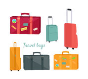 Set of Travel Suitcases and Bags Illustrations Stock Photography