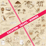 Set of Travel, Summer and Vacation Theme. Hand drawn in Stock Photos