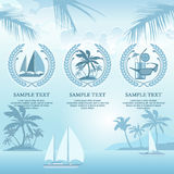 Set of travel symbols in blue Stock Image