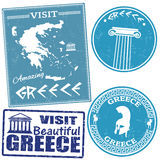 Set of travel to Greece stamps Royalty Free Stock Image