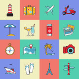 Set of travel and tourism line icons. Flat style Stock Images