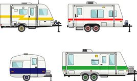 Set of travel trailer caravans on a white Stock Image