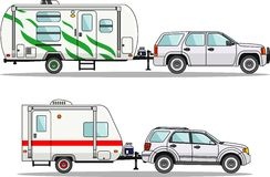 Set of travel trailer caravans on a white Royalty Free Stock Image