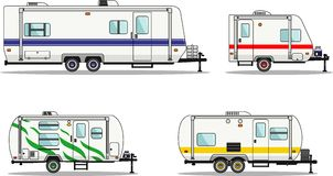 Set of travel trailer caravans on a white Stock Images