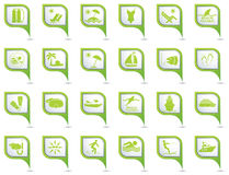 Set of Travel And Vacation Icons On Map Pointers. Set of 24 Travel And Vacation Icons On Green Map Pointers Royalty Free Stock Photos