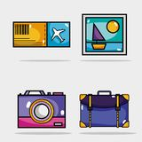 Set travel vacation things to visit countries vector illustration